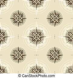 Seamless vintage nautical wind rose pattern