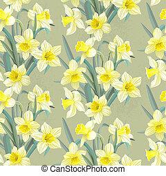 Seamless vintage pattern daffodils - Seamless vintage ...