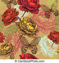 Seamless vintage pattern with blooming roses and colorful butterflies, hand-drawing. Vector illustration.