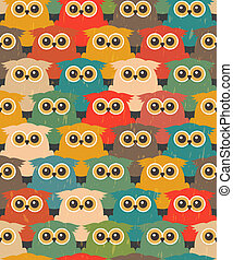 Seamless Vintage Pattern with Cute Owls