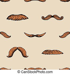 Seamless vintage pattern with mustache