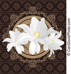 Seamless vintage pattern with white tulips. Festive ornamental background