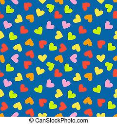 Seamless vintage random colorful heart pattern background....