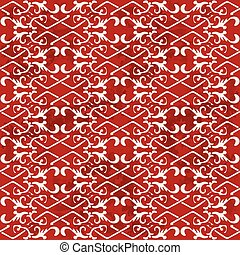 Seamless Vintage Red Chinese Background Check Cross Spiral Chain