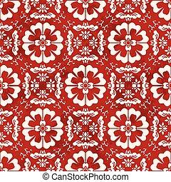 Seamless Vintage Red Chinese Background Cross Spiral Round Flower Kaleidoscope