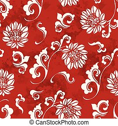 Seamless Vintage Red Chinese Background Curve Spiral Botanic Flower
