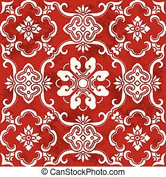 Seamless Vintage Red Chinese Background Curve Spiral Cross Flower