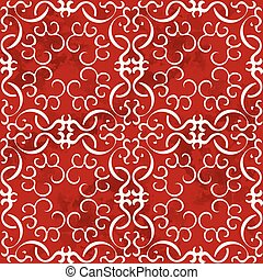 Seamless Vintage Red Chinese Background Curve Spiral Cross Frame