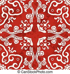 Seamless Vintage Red Chinese Background Curve Spiral Cross Kaleidoscope