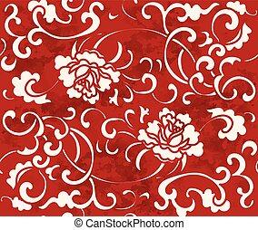 Seamless Vintage Red Chinese Background Garden Spiral Vine Flower