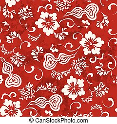 Seamless Vintage Red Chinese Background Gourd Spiral Vine Flower