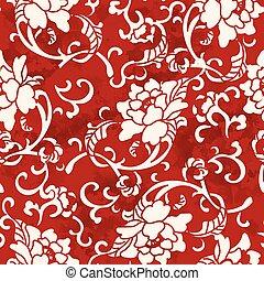 Seamless Vintage Red Chinese Background Spiral Botanic Flower Leaf