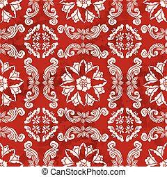 Seamless Vintage Red Chinese Background Spiral Cross Flower Vine