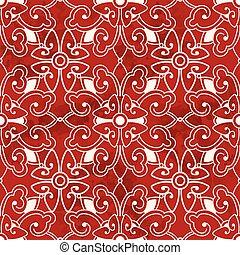 Seamless Vintage Red Chinese Background Spiral Cross Round Flower Kaleidoscope