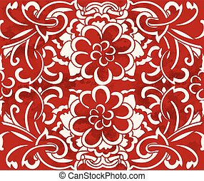 Seamless Vintage Red Chinese Background Spiral Curve Cross Flower