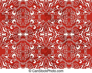 Seamless Vintage Red Chinese Background Spiral Curve Cross Kaleidoscope