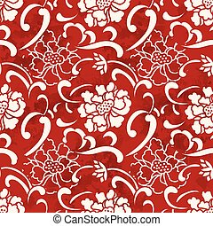 Seamless Vintage Red Chinese Background Spiral Curve Peony Flower