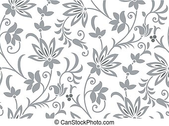 Seamless vintage silver flower pattern