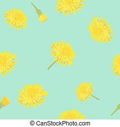 Seamless vintage style with a dandelion flower.