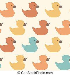 Seamless vintage yellow ducks polygon pattern