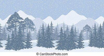 seamless, vinter landskab, hos, fir træ