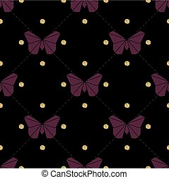 seamless violet origami with gold dot glitter butterfly pattern background