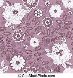 seamless, violett, blom- mönstra