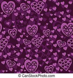 seamless, violett, mönster, med, hjärtan