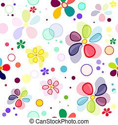seamless, virágos, élénk, motívum