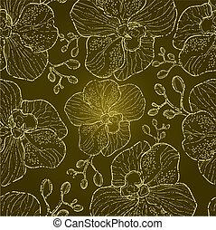 seamless, virágos, orhidea, motívum