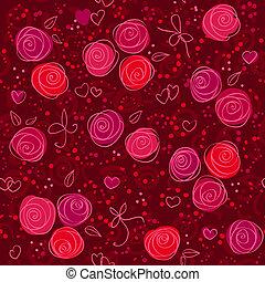 seamless, virágos, piros háttér