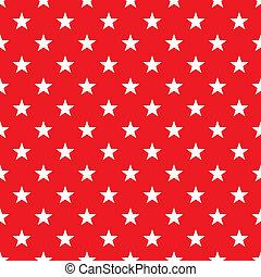 seamless, vit, stjärnor, på, röd