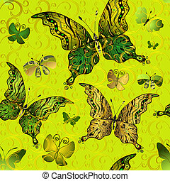 Seamless vivid vintage pattern with green and gold butterflies (vector eps 10)