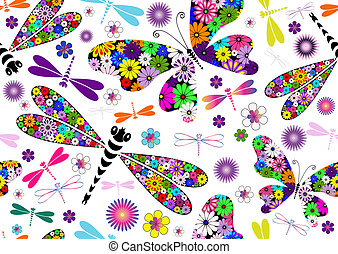 Seamless white floral pattern with colorful dragonflies and butterflies (vector)
