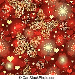 Seamless vivid red valentine pattern with hearts and golden butterflies