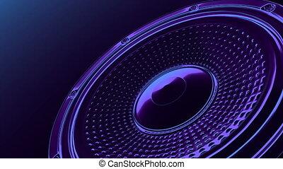 seamless vj musical motion loop - neon speaker in the corner. 3D render