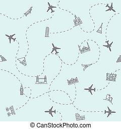 seamless., voyage, emplacements, fond, repère, avion, tourisme, impression, carte