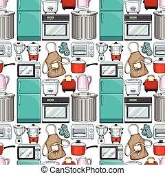 Seamless wallpaper design with kitchenwares