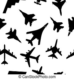 Seamless wallpaper military aircraft vector illustration