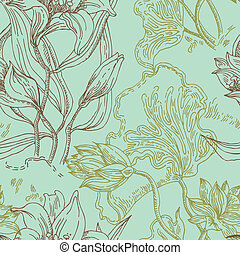 Seamless wallpaper pattern with flowers