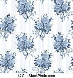 Seamless wallpaper pattern with of blue roses