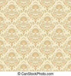 Seamless both side Damask wallpaper. Vector layered.