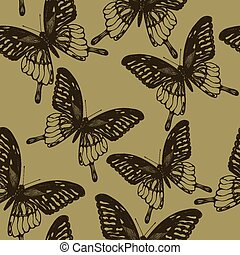 Seamless wallpaper with  butterflies, hand-drawing. Vector illus