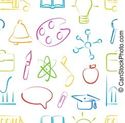 Seamless Wallpaper with Colorful Set School Objects