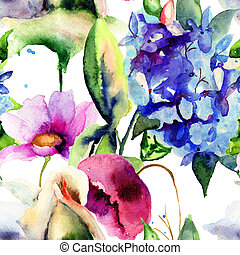 Seamless wallpaper with Colorful Summer flowers, watercolor painting