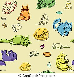 Seamless Wallpaper with cute cats