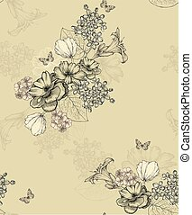 Seamless wallpaper with flowers and butterflies. Vector illustration.