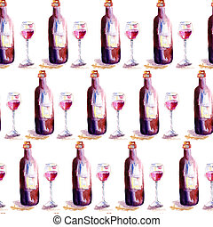 Seamless wallpaper with glass of red wine and a bottle