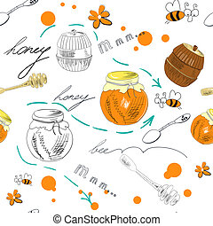 Seamless wallpaper with Jar of honey