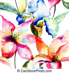 Seamless wallpaper with Lily and Iris flowers, watercolor illustration